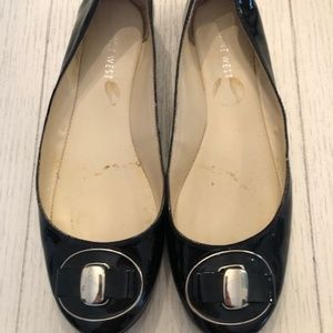 Nine West Black Patent Leather Flats with gold det